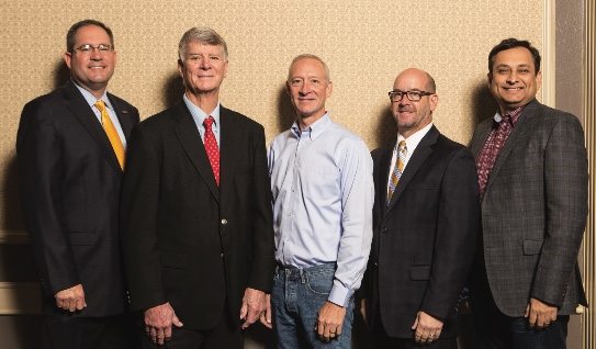David Reid, Dr. Tom Kelly, Gordon Daugherty, Darrell King & Manoj Saxena presented at the 2017 Economic Forecast in Austin.