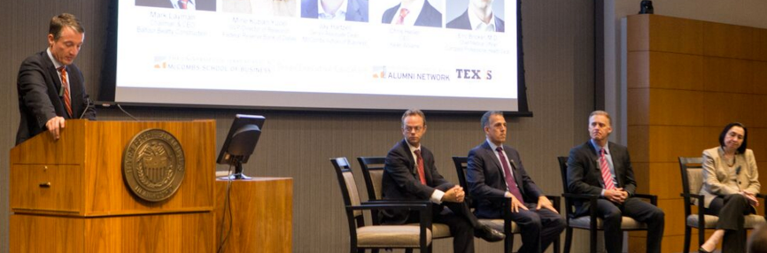 Senior Associate Dean Jay Hartzell of UT's McCombs School of Business leads the Q&A.
