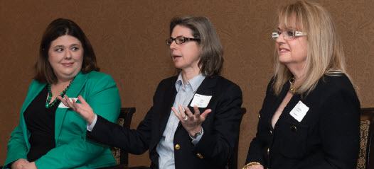 Paula Waggoner-Aguilar, Amy Clark and Marsha Hendler answer question at SA Speaker Series breakfast on being energy entrepreneurs.