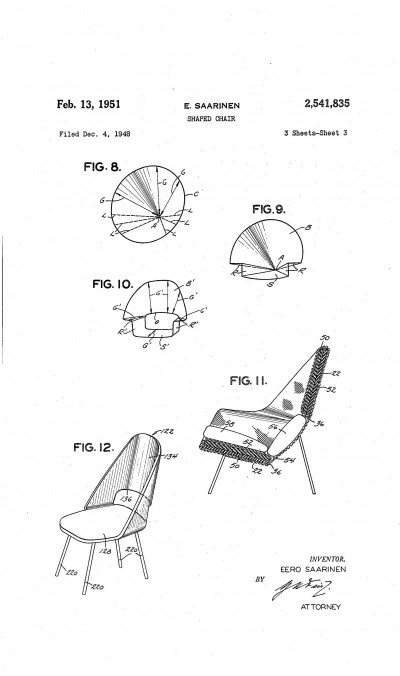 Fig. 1. Eero Saarinen, figures 8-12 of US utility patent #2,541,835 for a Shaped Chair, filed December 4, 1948 and published February 13, 1951.The illustration shows how Saarinen geometrically derived the forms of a variety of Shaped Chairs whose seats and backs could be fabricated from a single piece of sheet material bent into simple curves. The patent in theory covered all chair designs generated by this method.