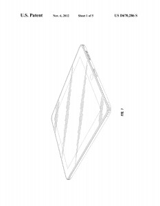 "Fig. 2. Jody Akana, et al., figure 1 of U.S. design patent #D670,286 for a Portable Display Device, filed November 23, 2010 and published November 6, 2012. This illustration shows how Apple used a design patent to protect a single design feature of the iPad. In patent drawings, claimed features are drawn with solid lines, and all other features (which in the final product need not appear as shown in the illustrations) are drawn in dotted lines. The only solid line in the suite of drawings submitted for this design patent is the one defining the ""rounded rectangle"" shape of the screen. (Apple filed separate design patents to protect other aspects of the iPad's design)."